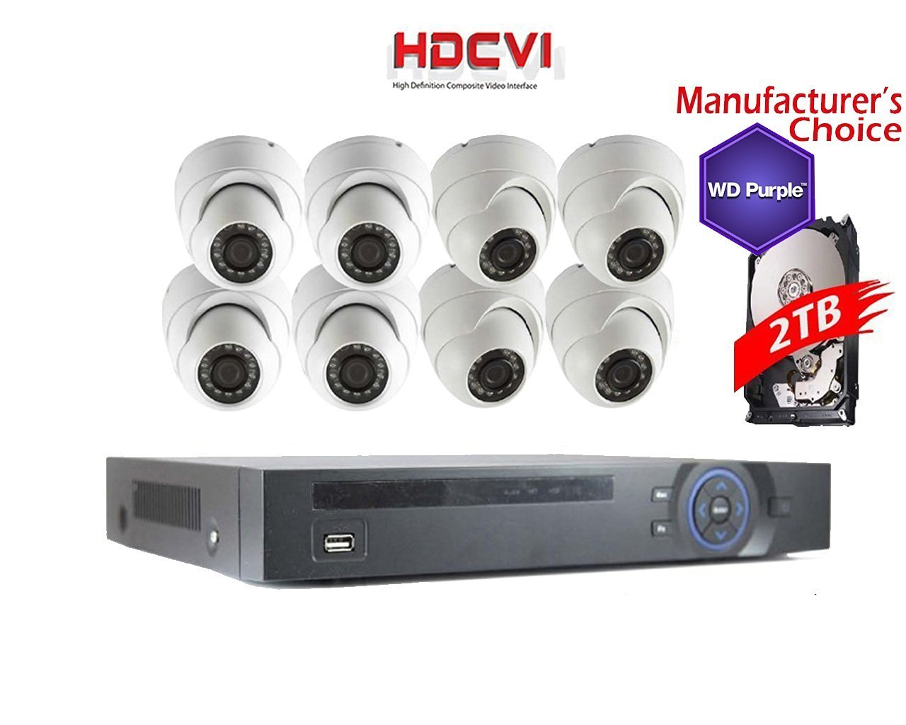 iCare 1080P Package: 8CH HDCVI DVR with 2TB WD Purple HDD Pre-installed + 8x 2MP IR Dome Camera,2 years warranty, Local Support