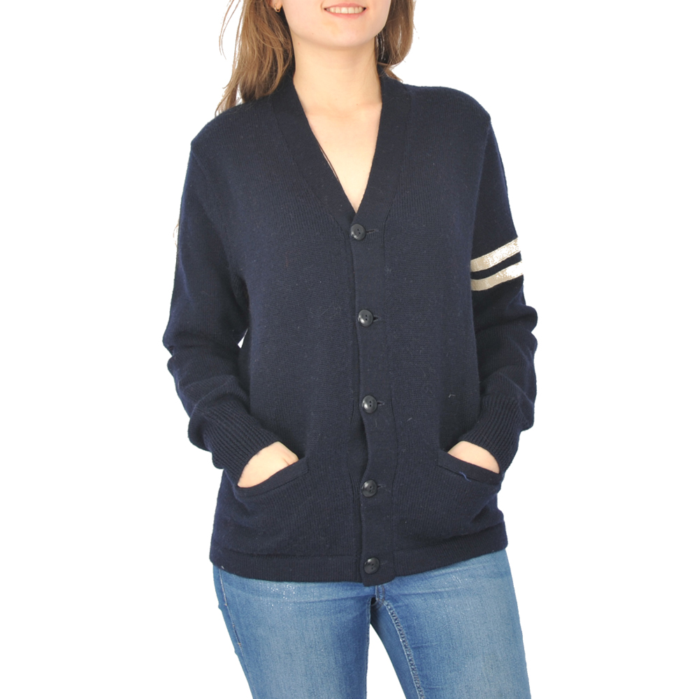 Elegant cut navy blau wolle frauen strickjacke