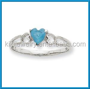 White Gold March Aquamarine Birthstone Latest Design Ladies Rings ...