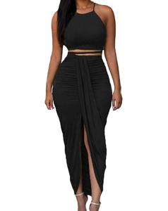 Womens Sexy Cotton Sleeveless Slit Two Piece Maxi Skirt Set Sexy Club Dress
