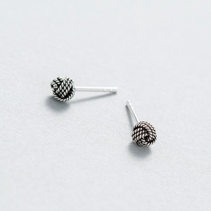 Retro 925 Sterling Silver Knot Ball Stud Earrings Vintage 925 Knot Ball Thread Stud Earrings