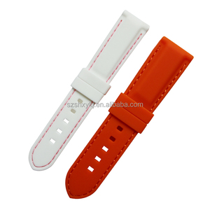 SHX 16/18/20/22/24/26/28mm 087 Stitched Silicone Rubber Wrist Watch Straps