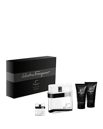 Salvatore Ferragamo F By Ferragamo Black Gift Set a 3.4 Oz. Eau De Toilette Spray, 1.7 Oz. Shampoo & Shower Gel, 1.7 Oz. After Shave Emulsion and 0.7 Oz. Mini Spray.