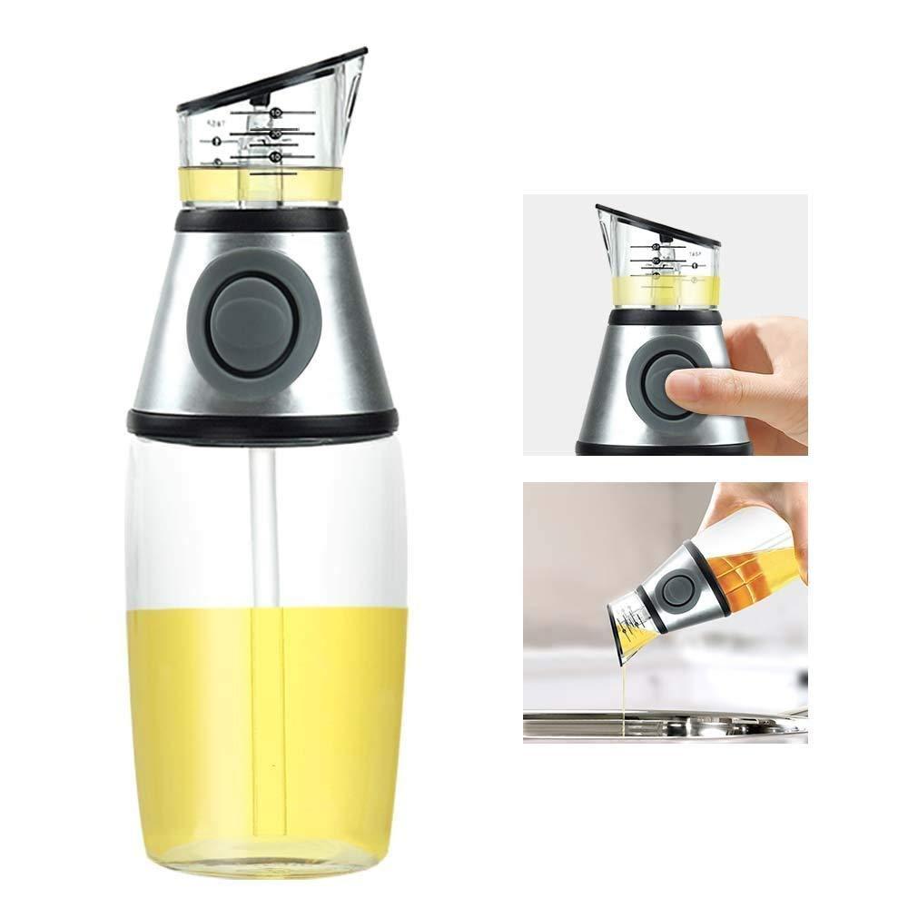 Olive Oil Dispenser Bottle - Vinegar Dispenser Bottle Glass with Drip-Free Spouts -Oil Pourer for Kitchen to Measure Cooking Vegetable Oil and Vinegar (17oz/500ml)