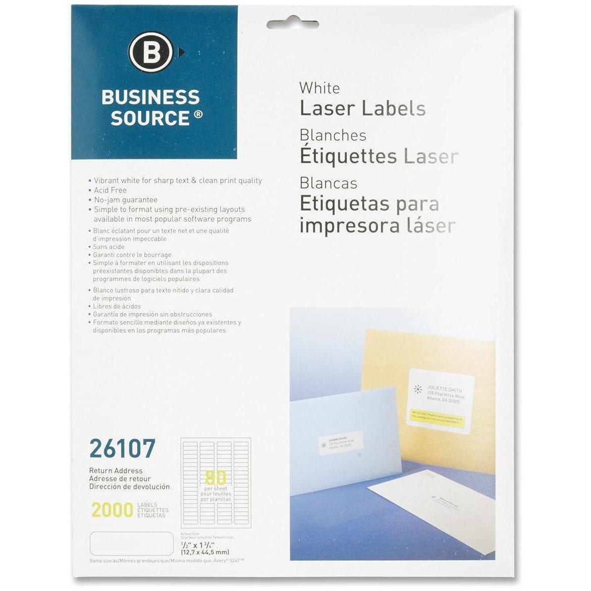 """Business Source 26107 Mailing Labels,Return Address,Laser,1/2""""x1-3/4"""",2000/PK,WE"""