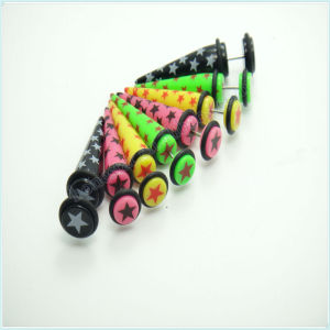 Star printed ear fake taper with o-rings acrylic insect ear plug