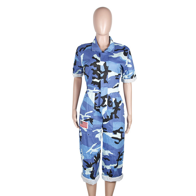 fashion one pieces loose army camouflage jumpsuit for women front zipper up bodysuit