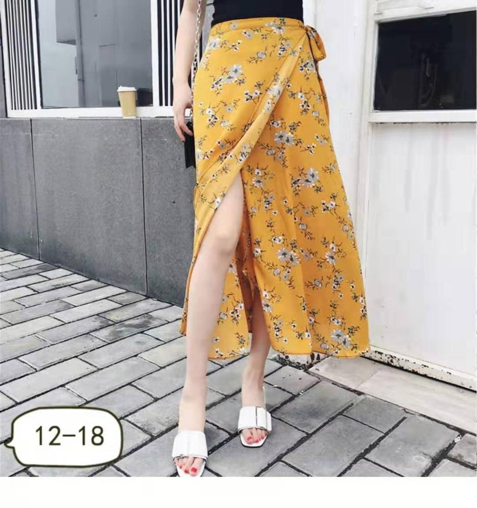 European and American Summer Long Maxi simple fashion leisure beach wrap skirt 100% rayon adjustable waist printed floral skirt