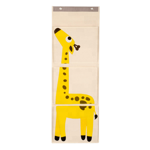 Creative animal design cute 3 layer Pockets Cartoon canvas Fabric kids Hanging Bag storage holder Wall file Organizer with hooks