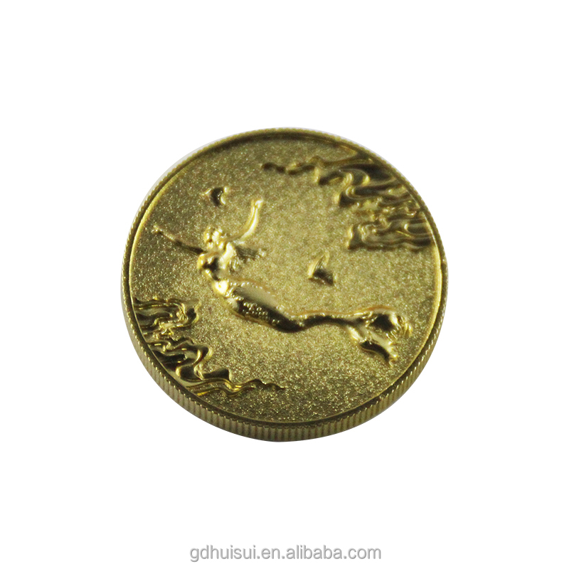 Custom 3d mermaid shaped metal stamping art coins from China for gift