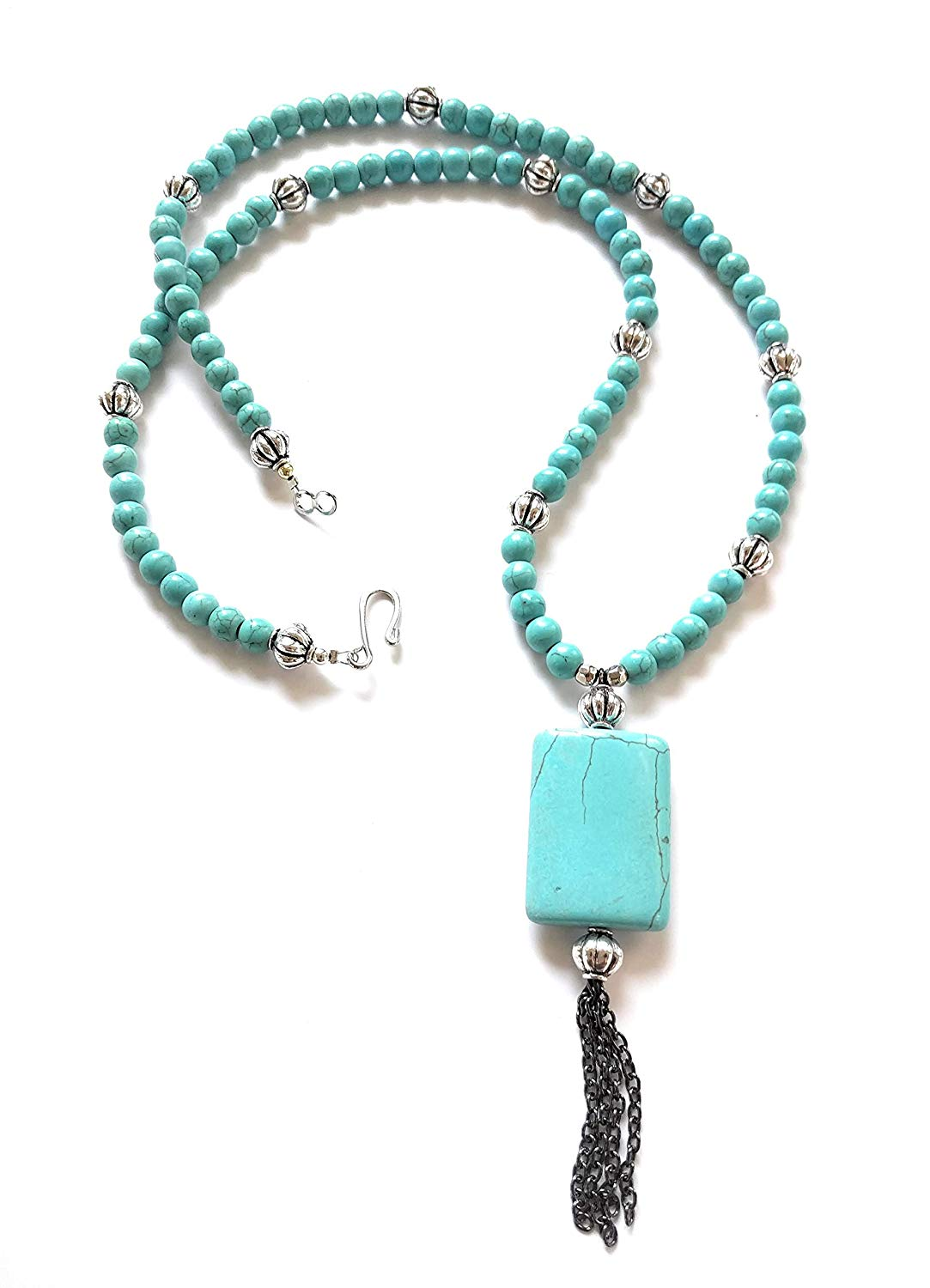 Long Turquoise Black Chain Tassel Bead Necklace