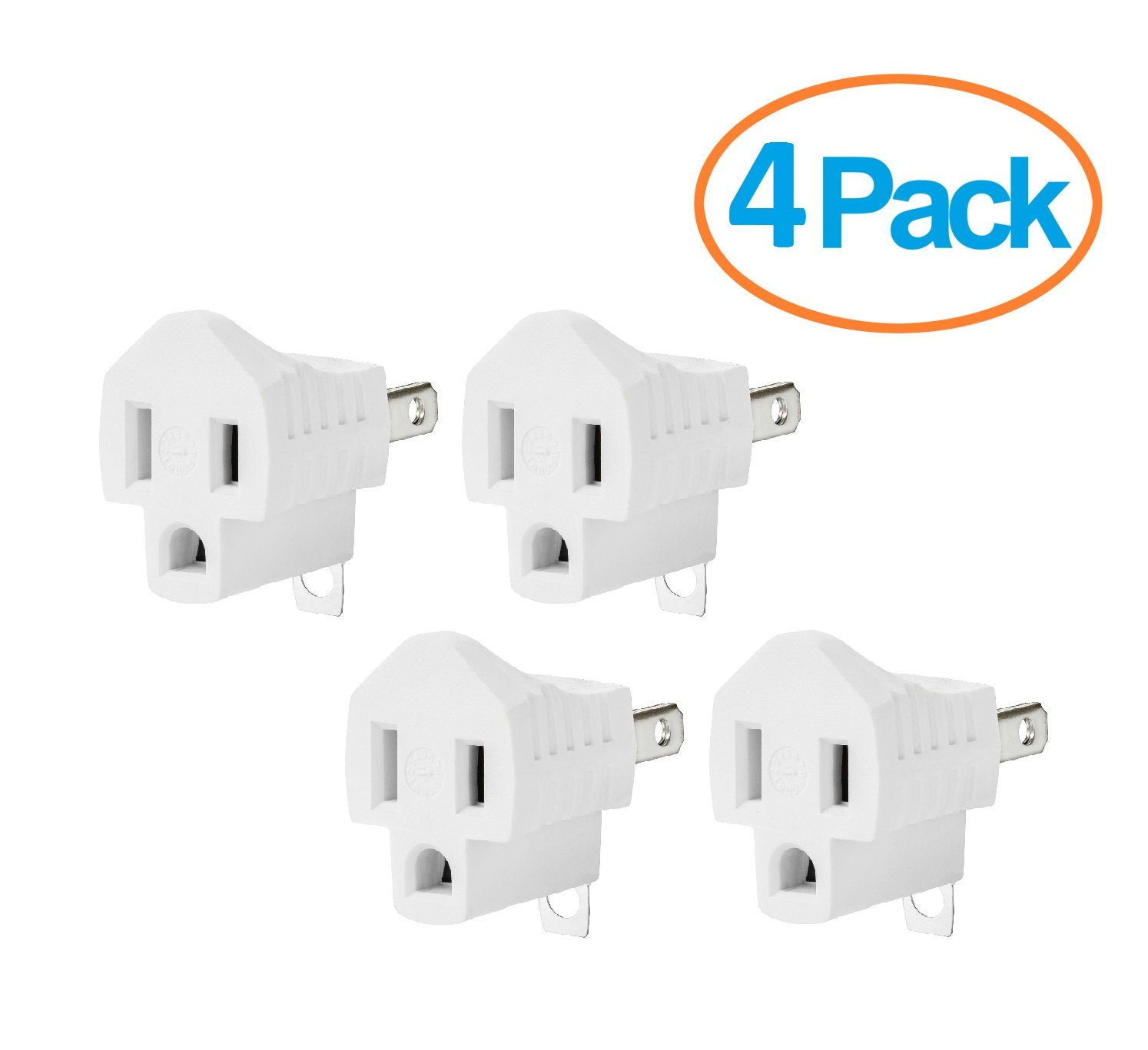 Yubi Power Grounding Adapter Plug - Grounded Outlet Adapter - 2 Prong to 3 Prong Adapter - 4 Pack