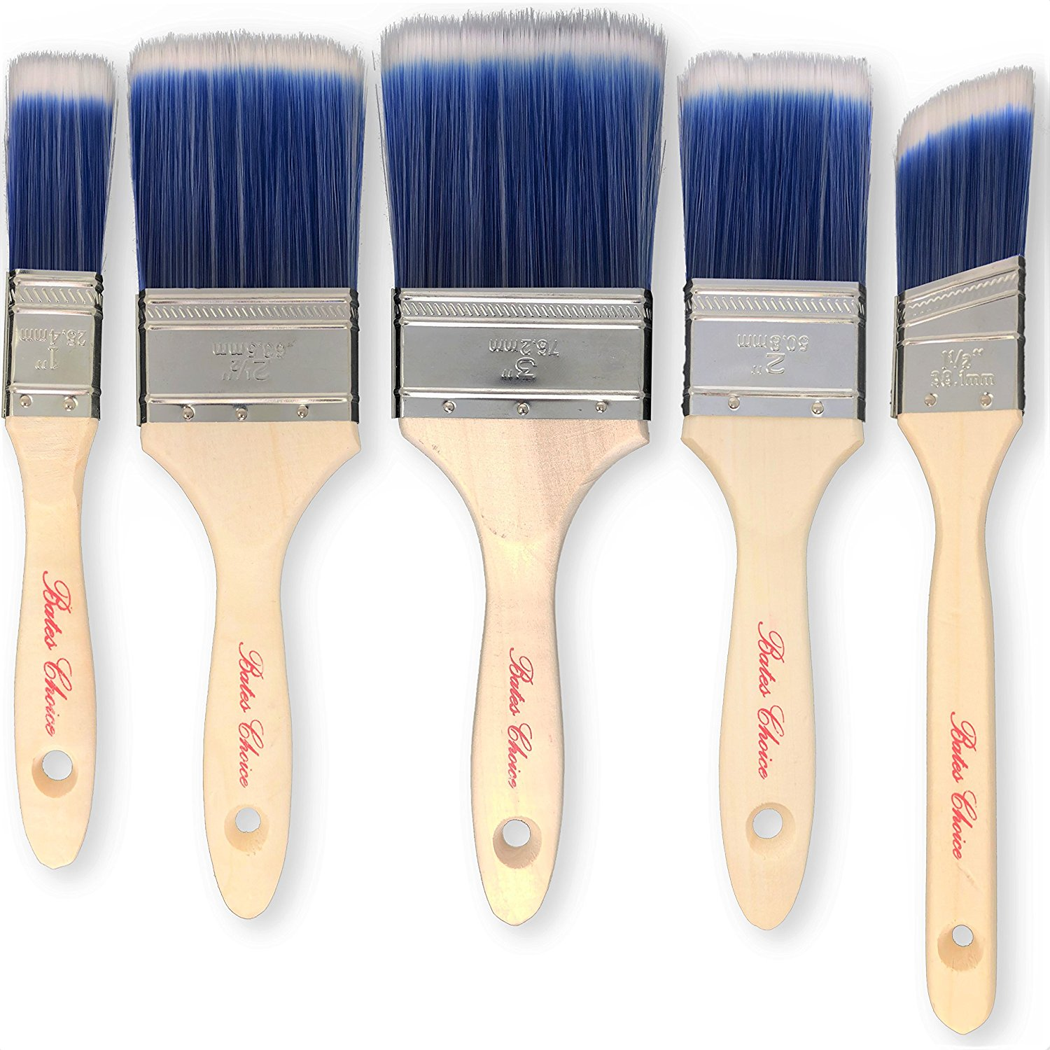 Bates Paint Brushes - 5 Pieces (3, 2.5, 2, 1.5 and 1-Inch), Paint Brushes For Walls, Professional Wall Brush Set, House Paint Brush, Trim Paint Brush, Sash Paint Brush, Premium Paintbrush, Stain Brush