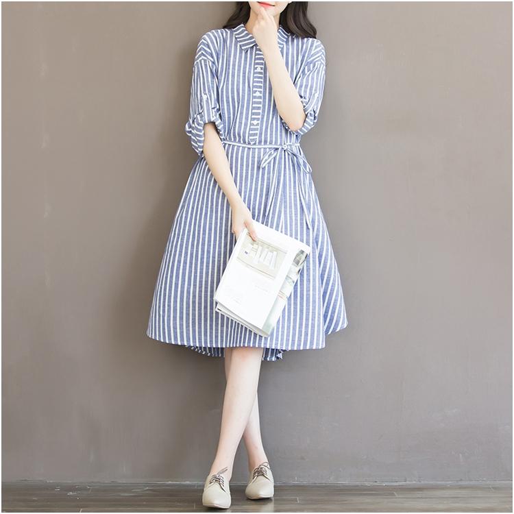 978f51af0a1 Plus Size Loose Stripe Maternity A Line Dress Women Peter Pan Collar Linen  Long Sleeve Mori