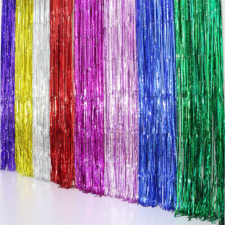 1 m x 2.5 m Gold Klatergoud String Folie Fringe Gordijn Shiny Shimmer Party Bruiloft Verjaardag Deur Decoratie Custom Metallic folie Gordijn
