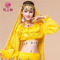 Indian dance tops Belly dance tops Tribal dance top Long sleeves belly dance tops S-3068#
