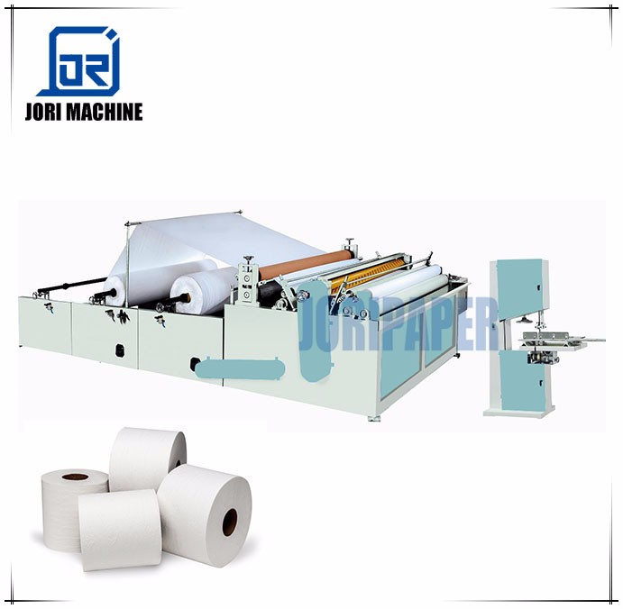 Semi auto toilet paper roll machine with manual band saw