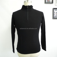 Wholesale Best Quality 1/4 Zip Black Long Sleeve Men Polo T-shirt