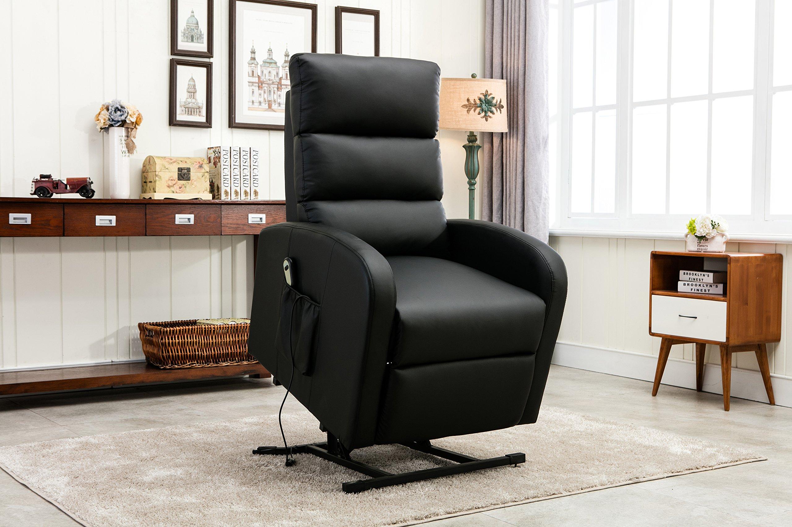 Divano Roma Furniture Classic Plush Bonded Leather Power Lift Recliner Living Room Chair (Black)