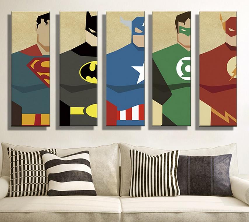 Lukisan Minyak Kanvas Super Hero Superman Batman Kartun Modular Dekorasi Rumah Modern Gambar Dinding Untuk Ruang Tamu