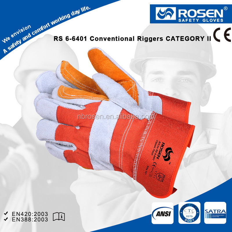 RS SAFETY cow split cotton half lined 70mm safety cuff cow finished leather gloves