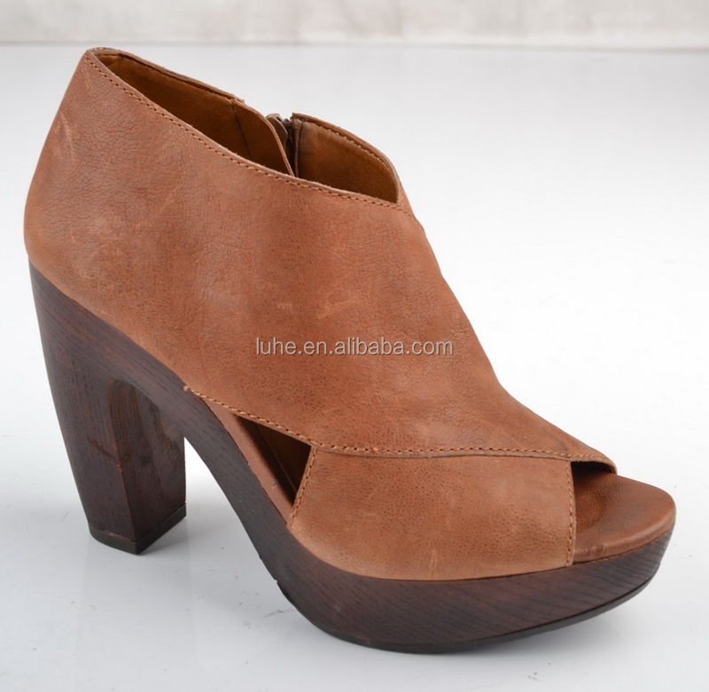 Fashionable wooden wedge heels peep toe dress shoes for women