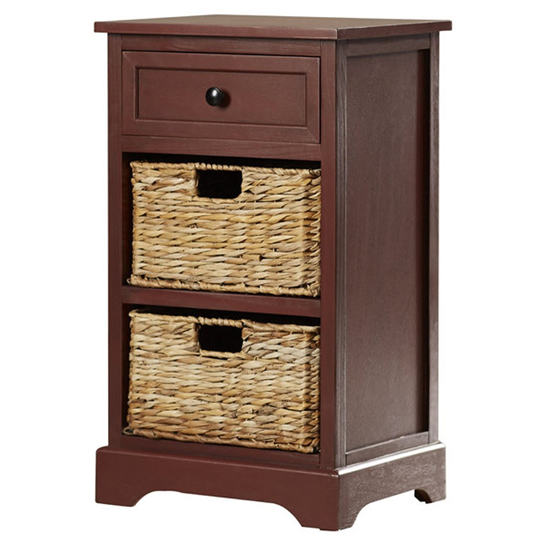 Nonatum Storage End Table- It Has 3 Drawers - Comes with Rattan Wicker Baskets - Rectangular Shape (Red)