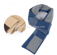 New Arrival Warm Winter Men's Elegant Knitted Plaid Wool Scarf