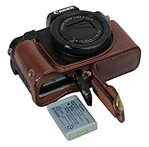 Bottom Opening Version Protective PU Leather Half Camera Case Bag Cover with Tripod Design for Canon PowerShot G5 X G5x Camera with PU Leather Hand Strap Dark Brown