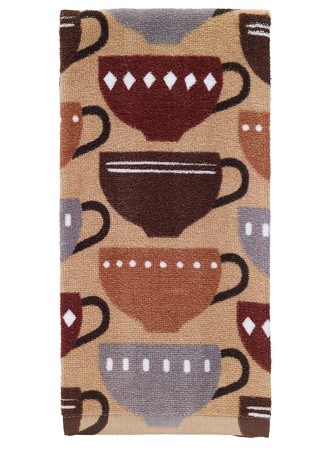 "T-Fal Textiles 100% Cotton Fiber Reactive Printed Kitchen Dish Towel, 19"" x 28"", Coffee Print"
