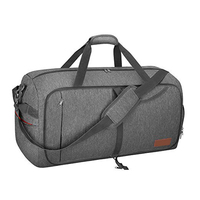 65L Waterproof Foldable Weekender Premium Duffle Bag With Shoe Compartment