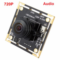 ELP 1mp UVC 720p CMOS 170degree fisheye lens hd h.264 usb wide angle webcam with audio function