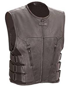The Nekid Cow Mens Premium Black Leather Motorcycle Swat Team Vest with Interior Armor (Large) - Guaranteed - Tactical Outlaw Black Biker Vests for Men - Law Enforcement Style Protective Armor with Side Adjustment Soft Leather Bonus 151 Page Motorcycle & Restoration E-Book Guide Included