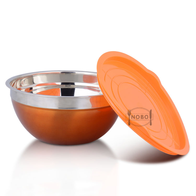 Best Quality Unique Collapsible Salad Cake Mixing Bowl Set Stainless Steel Bowl with Colorful Design