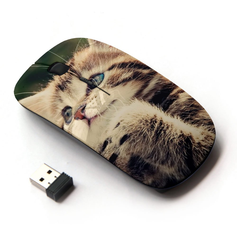 XP-Tech [ Slim Optical 2.4G Wireless Mouse Mice With Nano Receiver for PC Desktop Computer Laptop ] - Funny Cat