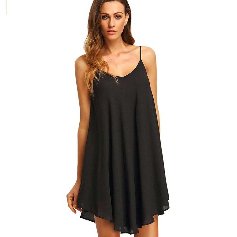 4e50fe782a Get Quotations · Peak-Peak Women s Summer Spaghetti Strap Sundress  Sleeveless Beach Dress