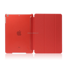 New arrival matte PC base PU leather cover for ipad air 2 case with stand vision Red colors custom