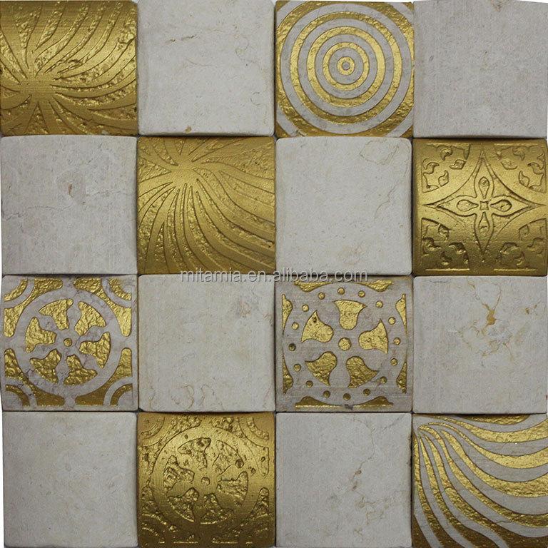 Or et blanc carrelage mosa que de marbre cube 3d de carreaux de mosa que buy carrelage en - Mosaique et carrelage ...