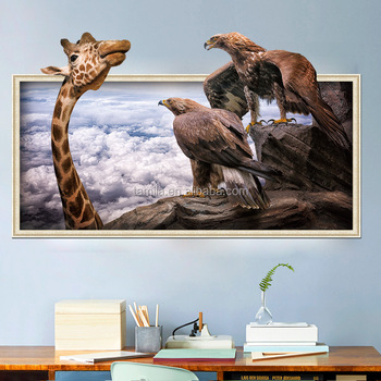 Removable custom hot sales creative PVC bedroom warm home baby house funny giraffe animal 3D wall sticker
