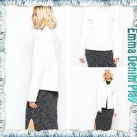 Latest Design Girl's Raw Edged Hem Solid White 100% Organic Cotton Denim Jackets