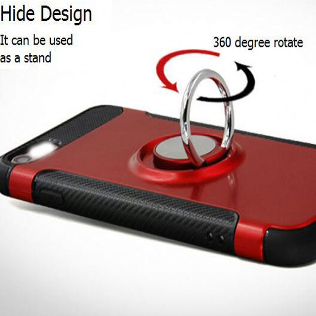 Hide Design Alloy Finger Ring Stand 360 Degree Rotate 5.5 Inch Phone Cover Case For Ip7 I8