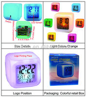 Glowing LED 7 Colors Change Digital LED Wall Clock