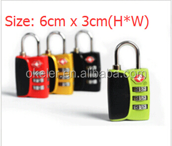 Christmas Gift Colorful Custom Travel Secure Code TSA Lock, Luggage 3 Digital Combination TSA Code Lock Padlock
