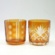 Popular amber glass candle cup hand carved patter candle container
