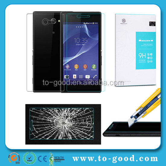 2015 Promotional Nano Anti-burst Gurad For Sony Xperia M2 Tempered Glass Screen Protector