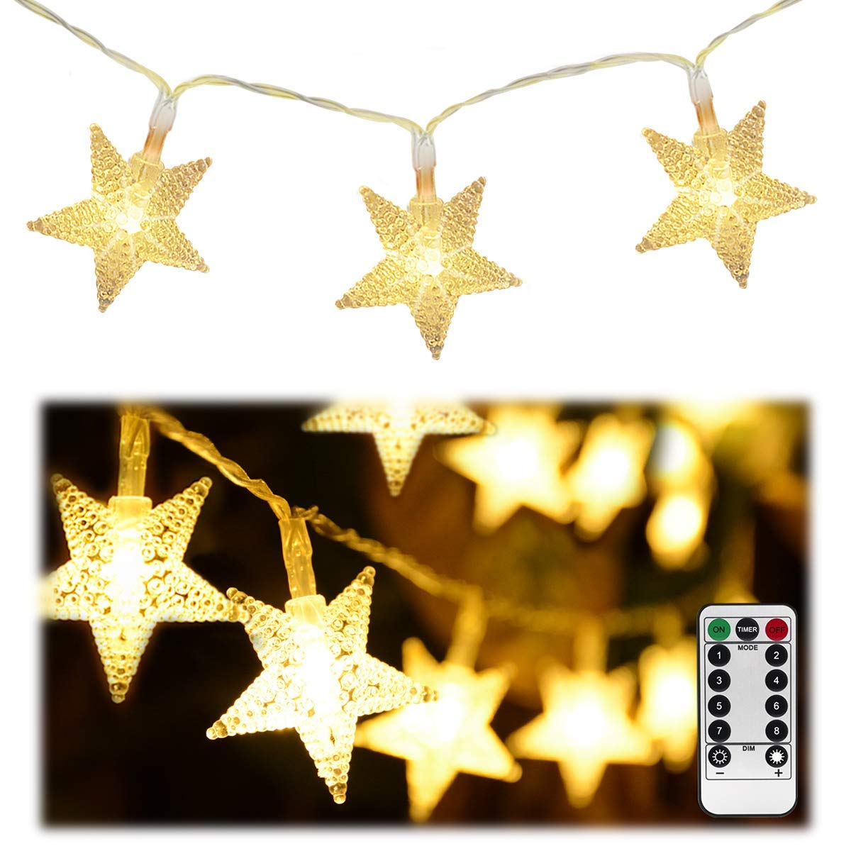 Homeleo 50ft 100 LED Star String Lights,Battery Operated LED Star Lights, Remote Warm White LED Twinkle Fairy Lights for Christmas Tree Decor Wedding Party Bedroom Decoration Princess Castle Play Tent