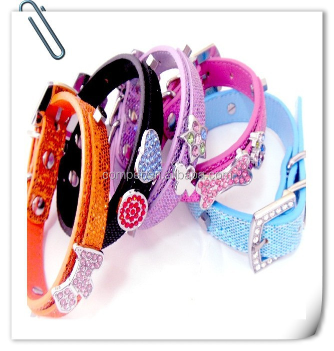 glitter DIY dog collars .pink ,purple,blue,black ,golden color 5 size