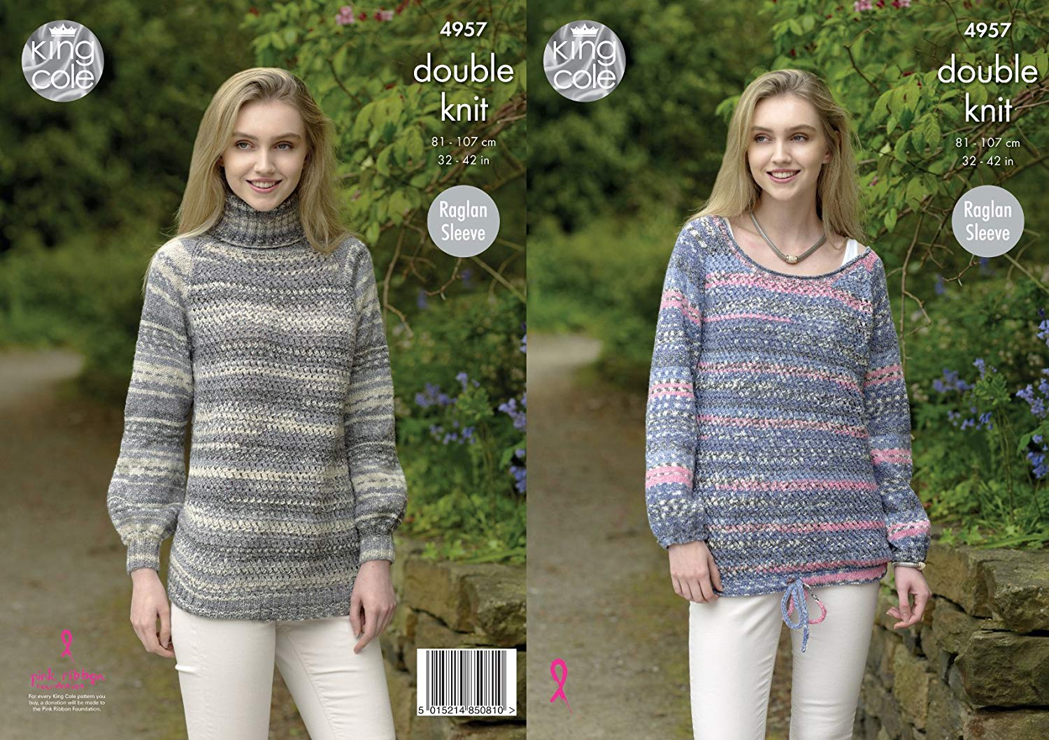 8b1ca1182 Get Quotations · King Cole Ladies Double Knitting Pattern Womens Raglan  Sleeve Polo or Scoop Neck Sweater (4957