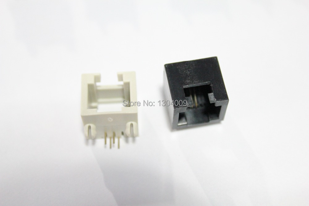RJ45 MINI 84 1X1 with ear round pin plastic phone jack 6P2C network socket