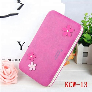 hard frame card holder travel wallet with flower decoration